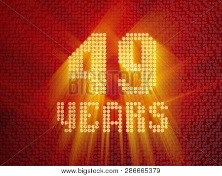 Golden Number Forty-nine Years (number 49 Years) Dotted Font, Top View, With Light Rays. 3d Render