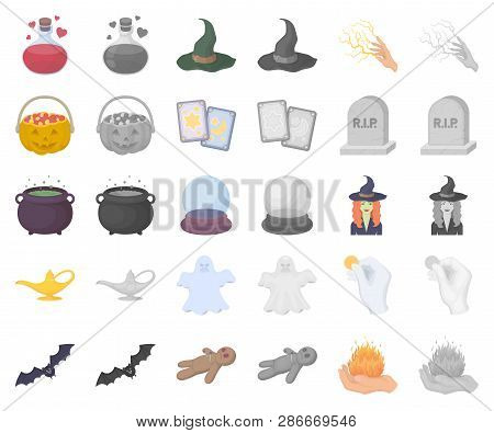Cartoon, Monochrom And White Magic Cartoon, Monochrom Icons In Set Collection For Design. Attributes
