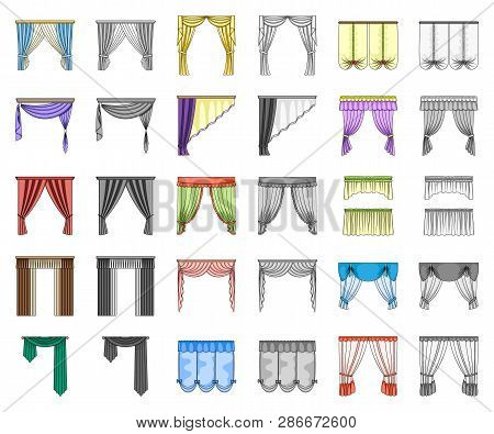 Different Kinds Of Curtains Cartoon, Monochrom Icons In Set Collection For Design. Curtains And Lamb