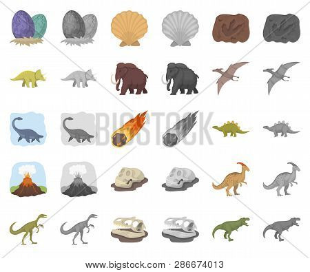 Different Dinosaurs Cartoon, Monochrom Icons In Set Collection For Design. Prehistoric Animal Vector