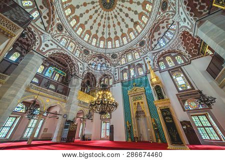 Istanbul, Turkey - April 14, 2017: Interior Of Yeni Valide Mosque, Constructed By Mimar Sinan Locate