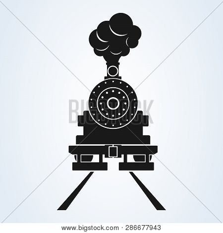 Old Train Front Icon Vector On White Background, Steam Train. Old Locomotive Pictogram Logotype.