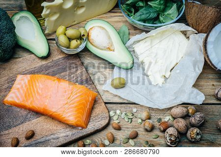 KETOGENIC DIET. Low carbs hight fat products. Healthy eating food, meal plan protein fat. Healthy nutrition. Keto lunch. Ketogenic diet breakfast. poster