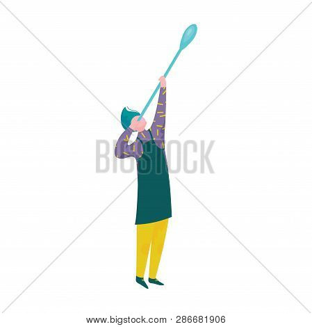 Man Blowing Glass, Male Glassblower Or Glassworker Character, Hobby Or Profession Vector Illustratio