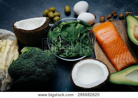Ketogenic Diet. Low Carbs Hight Fat Products. Healthy Eating Food, Meal Plan Protein Fat. Healthy Nu