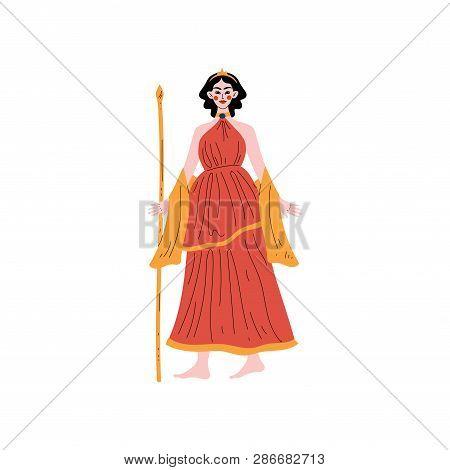 Hera Olympian Greek Goddess, Ancient Greece Mythology Hero Vector Illustration