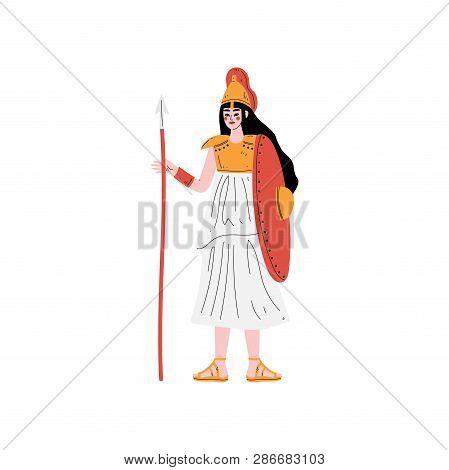 Athena Olympian Greek Goddess, Ancient Greece Mythology Hero Vector Illustration