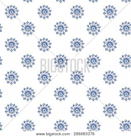 Fractal Flowers Hand-drawn Pattern Of Stylized Flowers In Cornflower And Cerulean Blue Colors. Illus