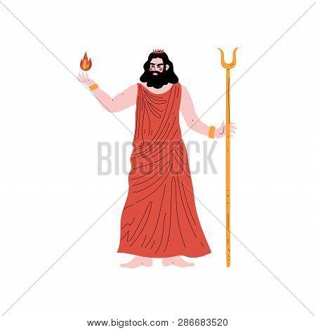 Hades Olympian Greek God, Ancient Greece Mythology Hero Vector Illustration
