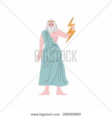 Zeus Supreme Olympian Greek God, Ancient Greece Mythology Hero Vector Illustration