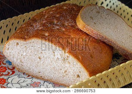 Bread In The Bread Box. Cut Bread In The Bread Box. Fresh Bread. Bread Still Life. Golden Bread. Ora