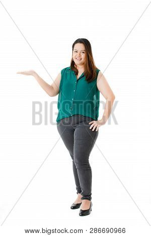Full Length Portrait Of Young, Plump, Beautiful, Asian Lady, In Smart Casual, Green, Sleeveless Shir