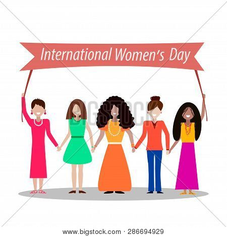 International Womens Day, Women Of Different Nationalities On A White Background, Vector Postcard