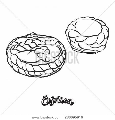 Hand Drawn Sketch Of Česnica Bread. Vector Drawing Of Soda Bread Food, Usually Known In Serbia. Brea