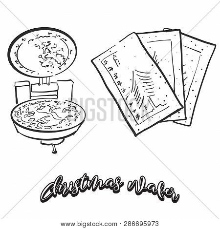 Hand Drawn Sketch Of Christmas Wafer Bread. Vector Drawing Of Crispy Bread Food, Usually Known In Ea