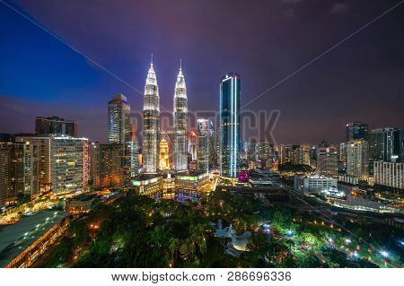 Aerial View Of Kuala Lumpur Downtown, Malaysia. Financial District And Business Centers In Smart Urb
