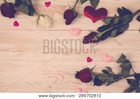 Valentine Card Confetti Of Fresh Rose And Heart