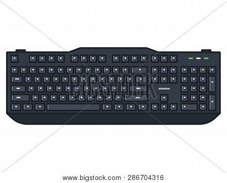 Computer Keyboard. Full Size Mechanical Keyboard With Numpad And Black Keycaps. Line Style Outline V