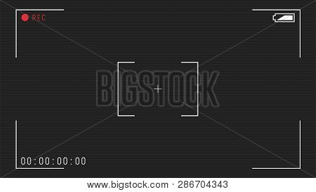 Video Camera Viewfinder Overlay. 16:9 Full Hd Format Of Frame Template. Camera Frame Vector Template