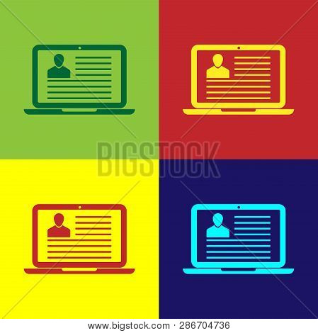 Color Laptop With Resume Icon Isolated On Color Backgrounds. Cv Application. Searching Professional