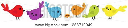 Bird Icon Set Line. Cute Cartoon Colorful Character. Birds Baby Collection. Decoration Element. Sing