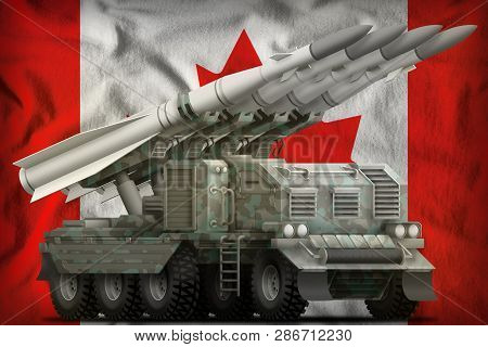 Tactical Short Range Ballistic Missile With Arctic Camouflage On The Canada Flag Background. 3d Illu