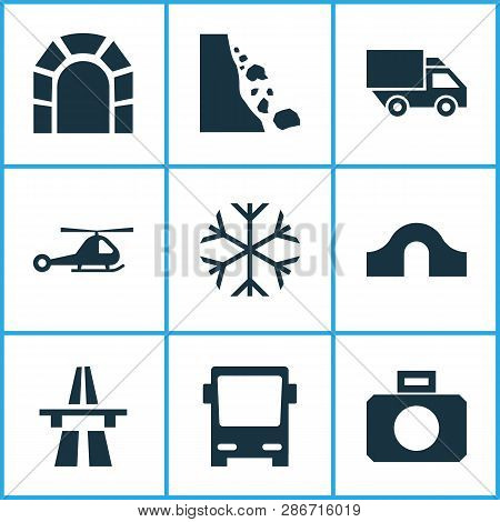 Shipment Icons Set With Helicopter, Start Of Motorway, Falling Rock And Other Subway Elements. Isola