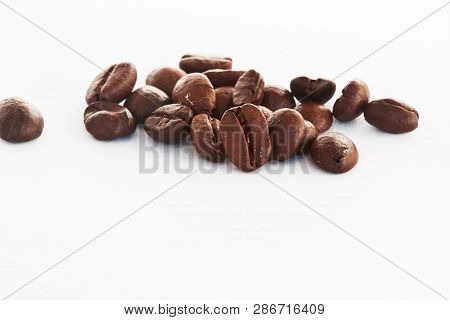 Coffee Beans Close-up. Coffee Beans Closeup On White Background.coffee Beans And Different Types Of