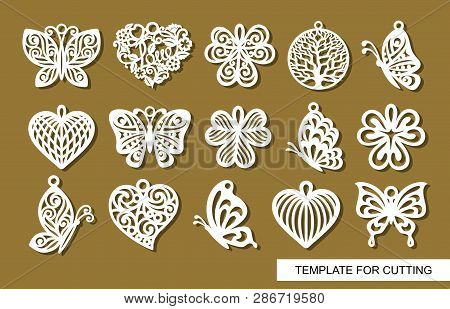 Set Of Decorative Pendants. Decor In Shape Openwork Butterflies, Clover Leaves, Round Tree Of Life A