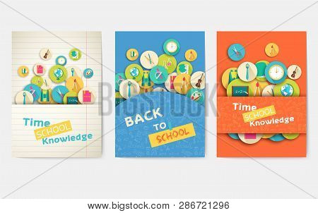 Back To School Information Pages Set. Brochures For Education And Training In A Trendy Style. School