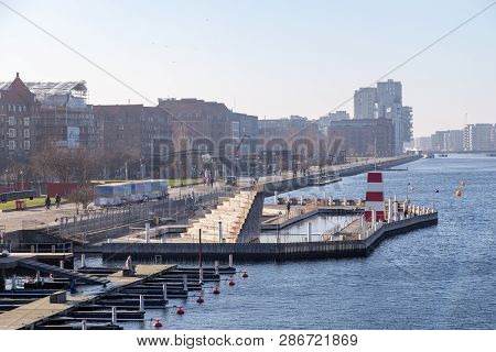 Copenhagen, Denmark - February 27, 2019: The Harbour Bath At Islands Brygge. There Are Currently Fou