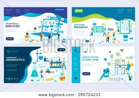 Illustration Of Online Medical Support, Health Care, Laboratory, Medical Services Modern Vector Conc