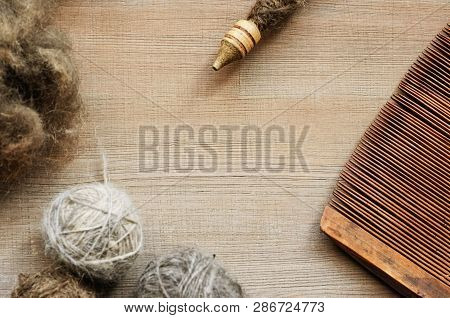 Flatlay Background With Acient Female Craft Tools