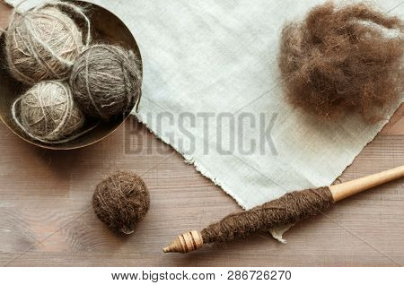 Traditional Female Instruments On Brown Wooden Background