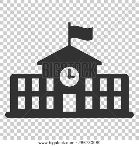 School Building Icon In Flat Style. College Education Vector Illustration On Isolated Background. Ba