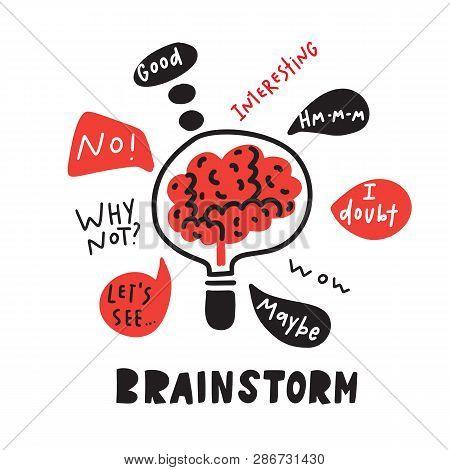 Brainstorm. Brain Inside The Lamp. Funny Hand Drawn Illustration Of Brainstorming Process.vector.