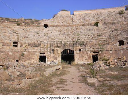 The Ampitheater At Leptis Magna Roman Ruins, Libya