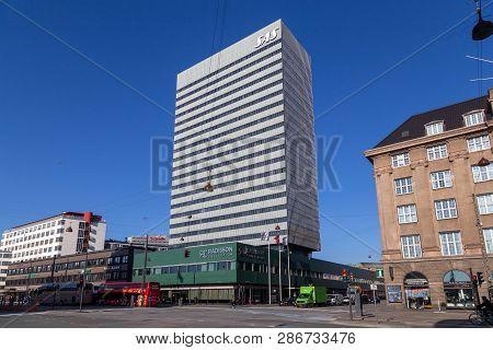Copenhagen, Denmark - February 27, 2019: Exterior View Of The Sas Hotel Designed By Arne Jacobsen An