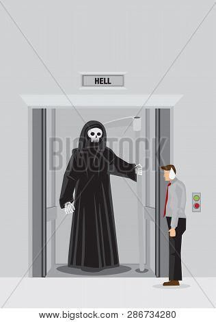 Cartoon Businessman Standing Outside Elevator With Floor Indicator Marked Hell Finds Grim Reaper Sta