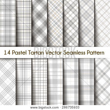 Set Tartan Seamless Pattern Background In Pastel Grey, Dusty Beige And White  Color  Plaid.  Flannel