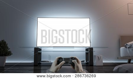 Playing Videogame With Joystick Near Blank White Tv Screen Mockup, 3d Rendering. Empty Televisor And