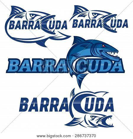 Modern Colorful Logo Barracuda Fish In Blue.