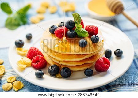 Pancake Blueberry Honey Indulgence Dessert Stack. Fried Golden Sweet Crepe For Tasty Butter Shroveti