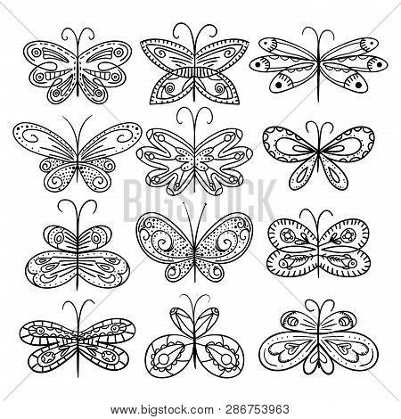 Twelve Hand Drawn Butterflies Appropriate For Coloring Book. Hand Drawn Decorative Butterflies. Blac