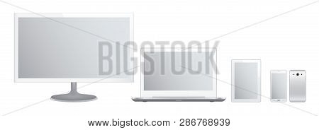 Set Of White Gadgets And Computer Devices In Front Side On White Background. Realistic Vector Illust