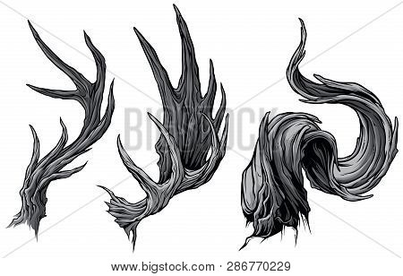 Cartoon Graphic Detailed Big Sharp Moose Or Deer Horns Or Antlers. Hunting Trophy. Isolated On White