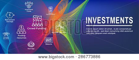 Retirement Investments / Dividend Income, Mutual Fund, IRA Icon set Web Header Banner poster