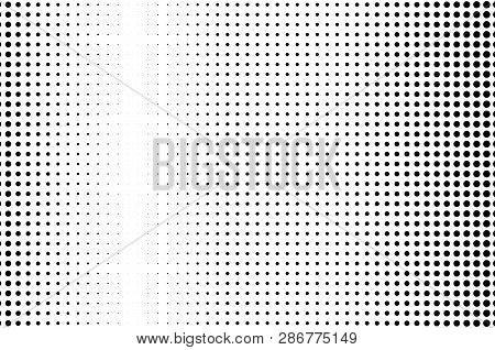 Abstract Monochrome Halftone Pattern. Futuristic Panel. Grunge Dotted Backdrop With Circles, Dots, P