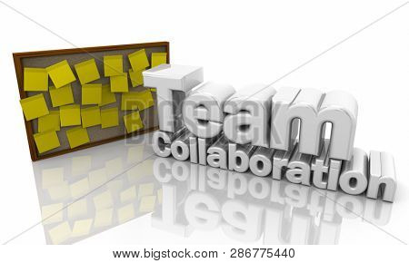 Team Collaboration Resource Tool Bulletin Board Words 3d Illustration