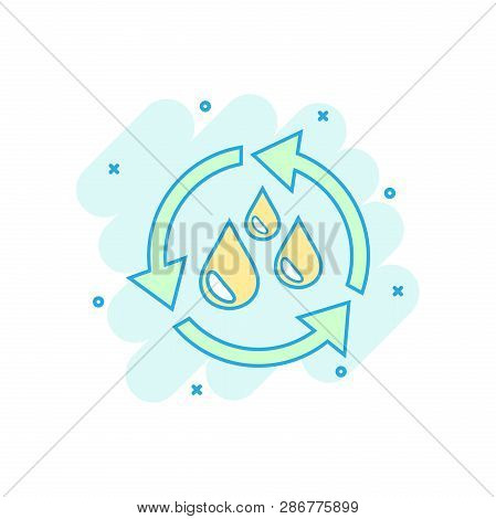 Cartoon colored water cycle icon in comic style. Recycling illustration pictogram. Ecology sign splash business concept. poster